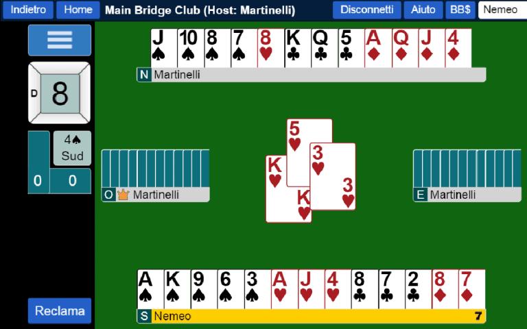 Tavolo per lezioni di bridge online